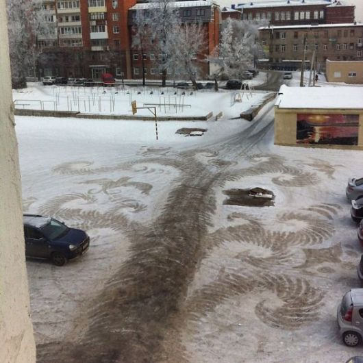 Talented School Janitor Makes Snow Drawings With His Shovel