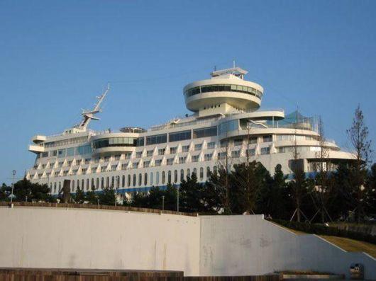 Sun Cruise Ship On The Cliff Top